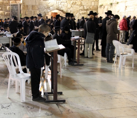 Pilgrims and tourists visiting Western wall at the night   Stock Photo - 16373032