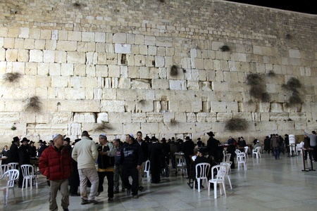 Pilgrims and tourists visiting Western wall at the night   Jerusalem, Israel   Stock Photo - 16373055