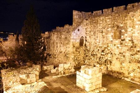 Old Jerusalem walls at the night