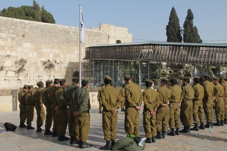 lamentation: Soldiers of Israel defense force arrived at the Western Wall  Briefing before the prayer  Jerusalem, Israel