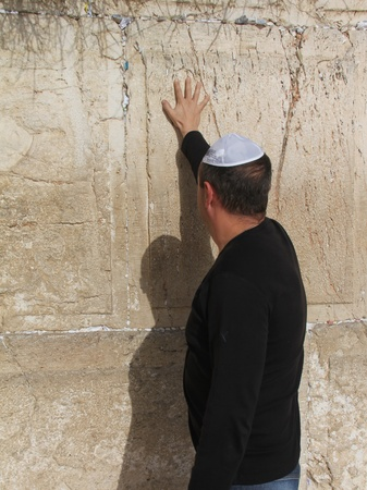 Unidentified Jews pray at the Western Wall  Stock Photo - 16443035