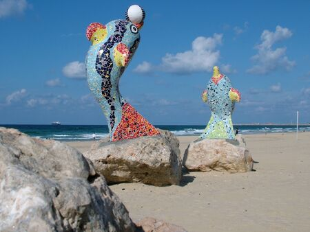 Statue Dolphins on quay of the city  of Ashdod  Israel Stock Photo - 16581947
