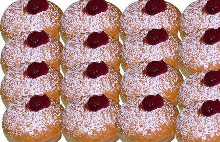 Donuts with jam,  traditional Jewish Hanukkah holiday sweet baking Stock Photo - 16789929