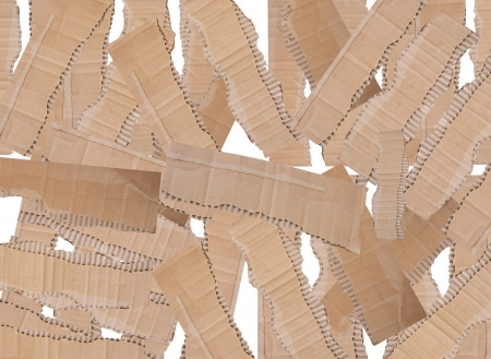 Collection of a cardboard pieces on white background  Collage photo