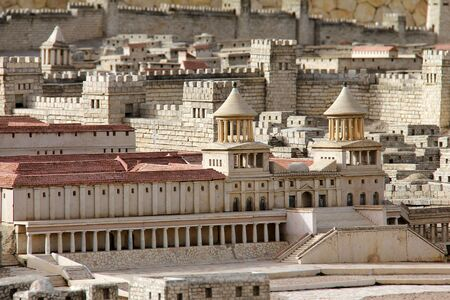Model of ancient Jerusalem  Upper Town  Hasmonean Palace    photo