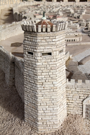The city wall  Tower Psefanus  Model of the ancient Jerusalem photo