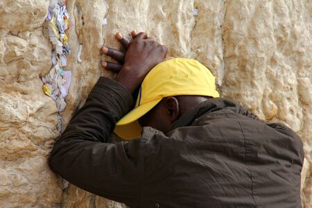 Jewish worshiper  pray at the Wailing Wall an important jewish religious site   in Jerusalem, Israel  Stock Photo - 17377858