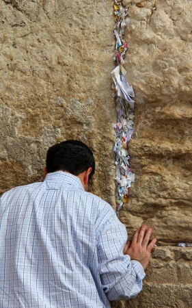 Jewish worshiper  pray at the Wailing Wall an important jewish religious site   in Jerusalem, Israel  Editorial