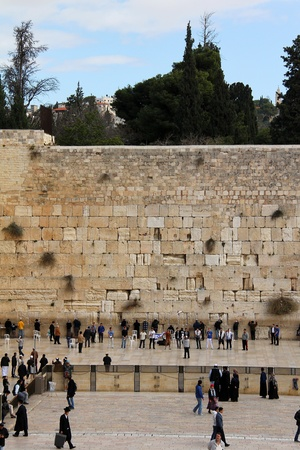 Jewish worshipers pray at the Wailing Wall an important jewish religious site   Jerusalem, Israel Stock Photo - 17356600