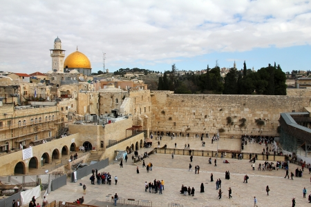 sabbath:  Wailing Wall an important jewish religious site   in Jerusalem, Israel