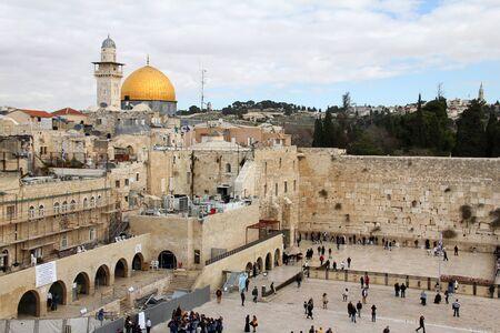 worshipers: Jewish worshipers pray at the Wailing Wall an important jewish religious site  Jerusalem, Israel