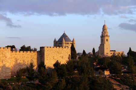 The ancient walls of the Old City of Jerusalem  Church of Dormition and Bell-Tower on Mount Zion