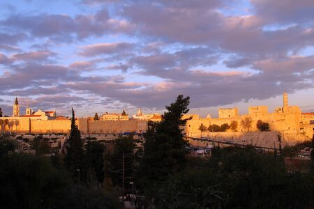 The ancient walls of the Old City of Jerusalem photo