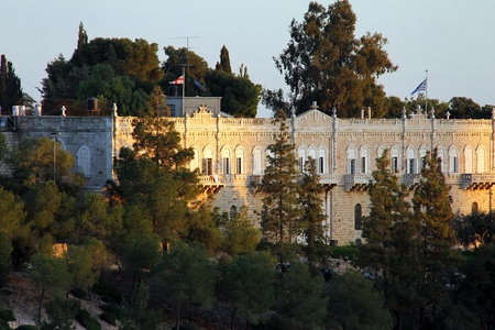 View of the evening Jerusalem  near the Jaffa gate   Institute for the Study of the Holy Land  Located on the western slope of Mount Zion was founded in 1853 Stock Photo - 17430824