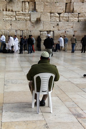 Jewish worshipers  pray at the Wailing Wall an important jewish religious site  Jerusalem, Israel