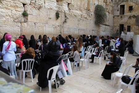 tora: Jewish worshipers  women  pray at the Wailing Wall an important jewish religious site  Jerusalem, Israel  Editorial
