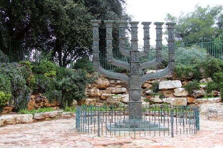 Menorah in front of the Knesset, Jerusalem, Israel photo