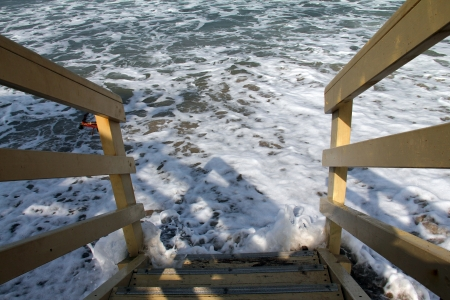 influx: Lifeguard station  in winter Stock Photo