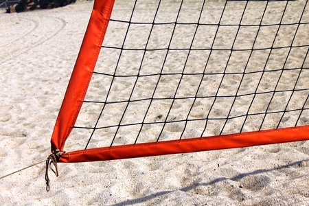 Volleyball  net  on winter  beach Stock Photo - 17686122