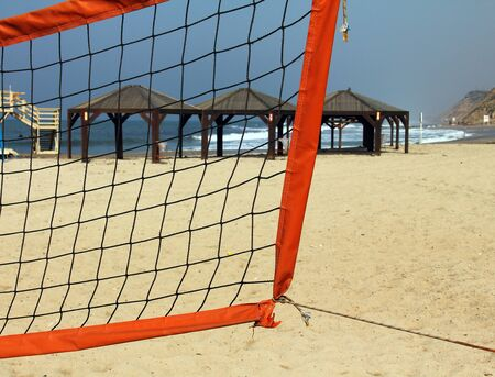 Volleyball  net  on winter  beach Stock Photo - 17685963