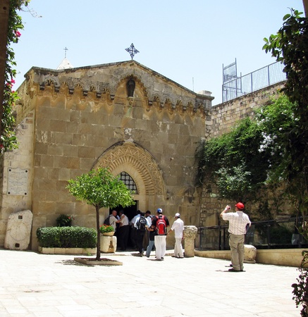 golgotha: The first station stop Jesus Christ, who bore his cross to Golgotha  Jerusalem, Israel Editorial