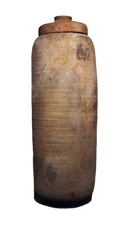 J Qumran ceramic vessel from Shrine of the Book preserved the Dead Sea Scrolls    Shrine of the Book contains the Great Isaiah Scroll written in 100 BC  and is located in Israel Museum  Jerusalem