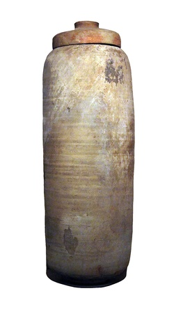 Qumran ceramic vessel from Shrine of the Book preserved the Dead Sea Scrolls    Shrine of the Book contains the Great Isaiah Scroll written in 100 BC  and is located in Israel Museum  Jerusalem Stock Photo - 17884694