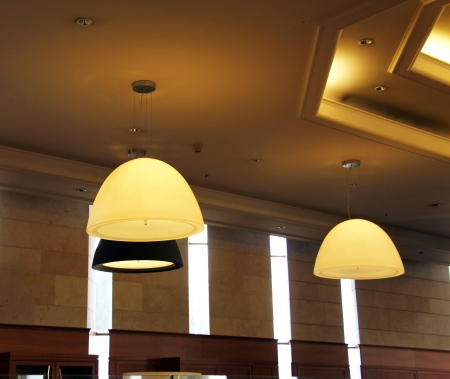 Ceiling lights in the Entrance of a modern building  photo