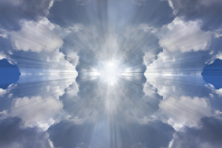 Sun rays showing from behind clouds  Holy spirit photo