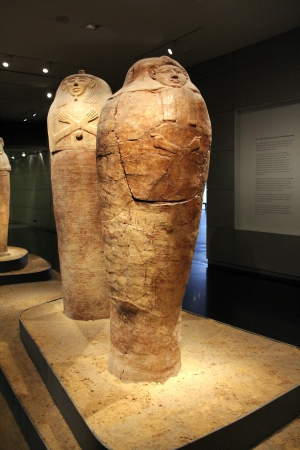 israel museum: JERUSALEM, ISRAEL -    Burial coffins in egyptian hall of  the Israel Museum   in Jerusalem Editorial
