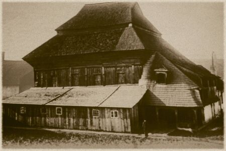 17th: Retro photo of  old wooden synagogue  in Chodorow, Ukraine  Built in 1652 and was completely destroyed by the Nazis during the Holocaust Editorial