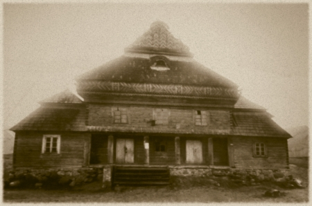 nazis: Retro photo of  old wooden synagogue  in  Jeziory, Poland, 18th century AD and was completely destroyed by the Nazis during the Holocaust Editorial