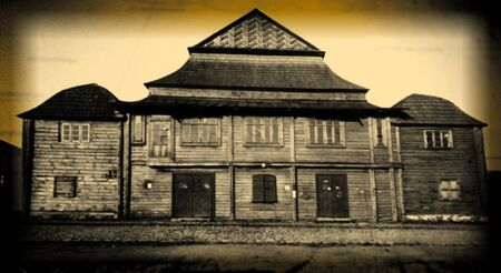 nazis: Retro photo of  old wooden synagogue  in Grodno, Belarus, 18th century AD and was completely destroyed by the Nazis during the Holocaust