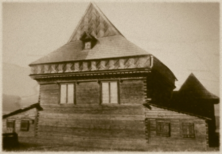 nazis: Retro photo of  old wooden synagogue  in Zabludow, Poland, 17th century AD and was completely destroyed by the Nazis during the Holocaust