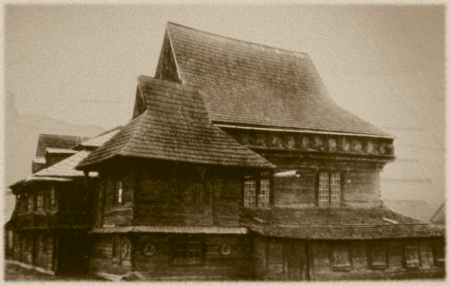 Retro photo of  old wooden synagogue  in Zabludow, Poland, 17th century AD and was completely destroyed by the Nazis during the Holocaust Stock Photo - 18194019