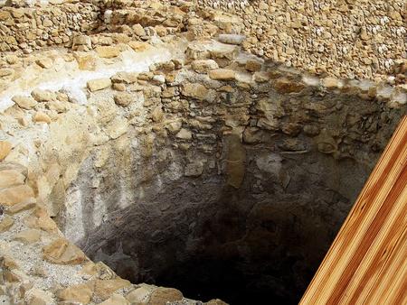 judean desert: Antique artificial stone cistern for collecting water  Herodium or Herodion ruins   Judean desert, Israel