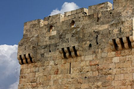 Jaffa gate on blue sky background  Jerusalem old town  Israel photo