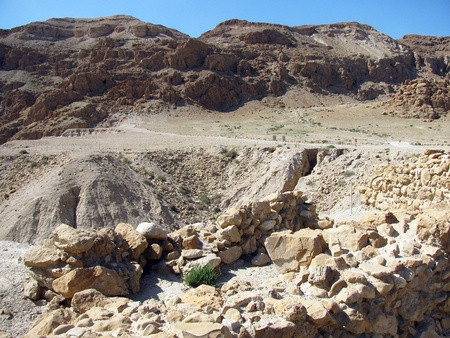 The caves of Qumran near the Dead Sea    Israel   Here were found the famous ancient Jewish religious scrolls Stock Photo - 18398961