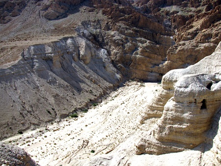 hebrews: The caves of Qumran near the Dead Sea   Israel  Here were found the famous ancient Jewish religious scrolls