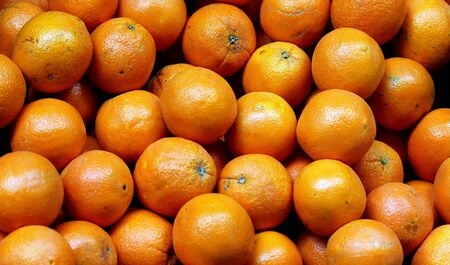 Bunch of fresh  oranges on market  Selective focus Stock Photo - 18398927