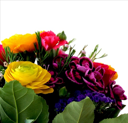 Bouquet of various flowers  isolated on white background Stock Photo - 18809835
