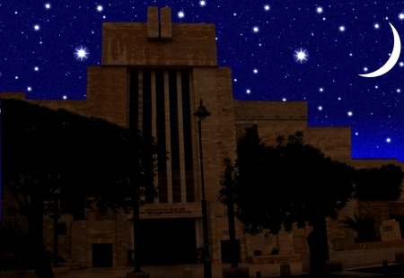 Abstract  vintage view of the Great Synagogue of Jerusalem  on night  starry sky background Stock Photo