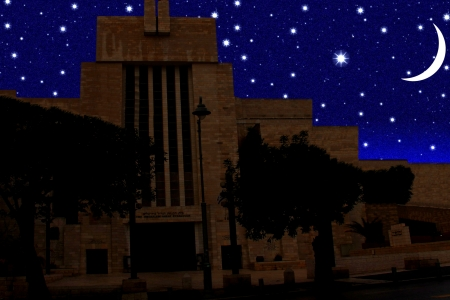 shul: Abstract  vintage view of the Great Synagogue of Jerusalem  on night  starry sky background Stock Photo