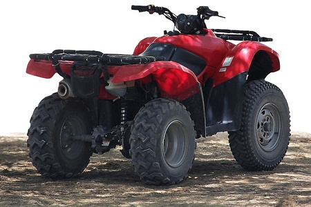 Red atv quad-bike partially isolated on white background