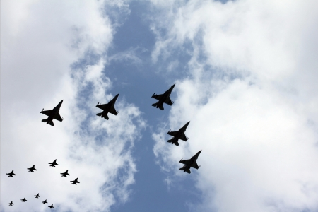 Israeli Air Force   jet fighters) at parade in honor of Independence Day