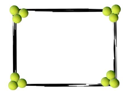 Black grunge border frame and tennis balls on white background photo
