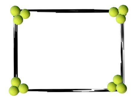 Black grunge border frame and tennis balls on white background Reklamní fotografie