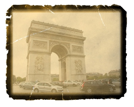Old photo paper texture with view of  the Arc de Triomphe, Paris photo