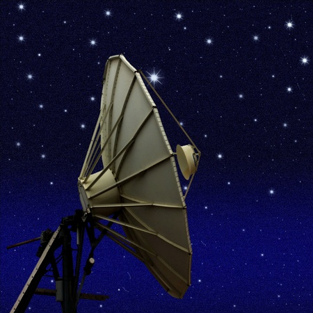 Satellite dish at night starry sky background photo