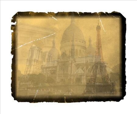 A vintage, grungy postcard from Paris, with the Eiffel Tower Eiffel Tower and other landmarks and place for your  text or design photo
